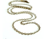 "Antiqued Brass Long Necklace Chain - Your choice in length from 24"" to 34"""