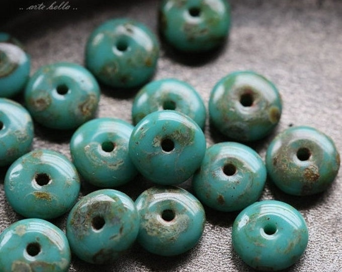 TURQUOISE DISC .. 20 Premium Picasso Czech Glass Disc Beads 6x2mm (4727-20)