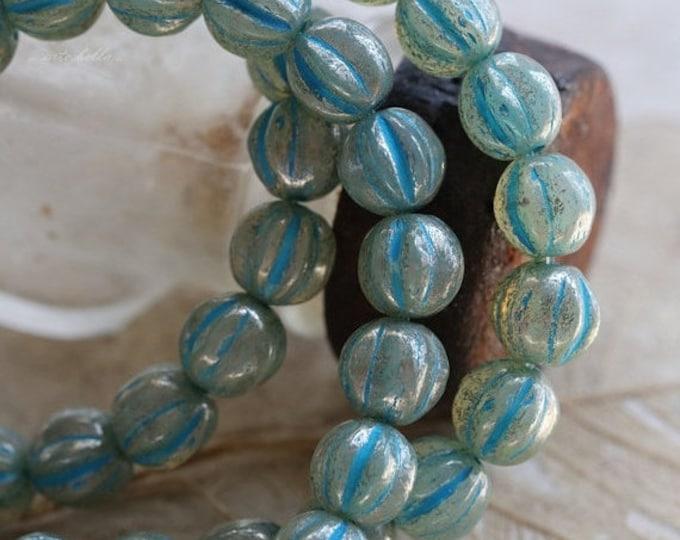 BLUE MERCURY MELONS .. 25 Picasso Czech Melon Beads 6mm (5327-st)
