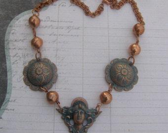 Art Nouveau Necklace, Vintage Style Necklace, Copper Bead Necklace, Bohemian Goddess Necklace, Art Nouveau Woman