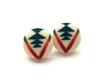 Fabric Button Earrings, Stud Earrings, Tribal Fabric, Arrow Earrings, Button Jewelry, Accessory