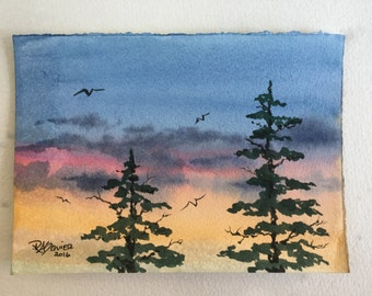 Sunset Trees an Original Watercolor Painting 5x7 inch
