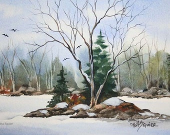 Early Snow an Original Watercolor Painting 5x7