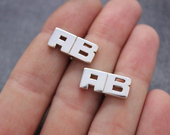 Wedding Cufflinks for groom, groom gift from bride, Sterling Silver initial Cufflinks 5 Pairs of Personalized cuff links