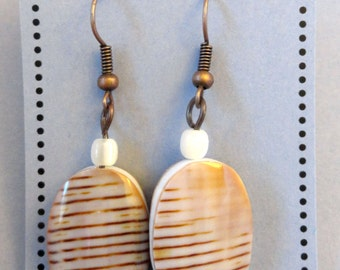 Earrings Cone Shell Seashell Beads Oval Focal Bead Dangle Earrings for pierced ears french hook mother of pearl white on copper