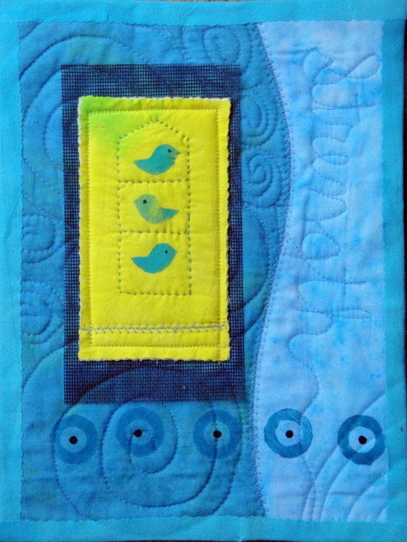 Cheerful Fiber Art Bird Quilted Art Wall Hanging on Black Cradle board