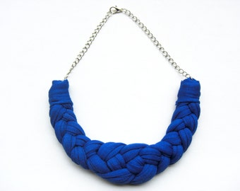 Cobalt blue cotton Necklace, Blue Jewelry, Royal blue Necklace, Knotted Necklace, Braided Necklace, Woven Necklace, Electric Blue Necklace.