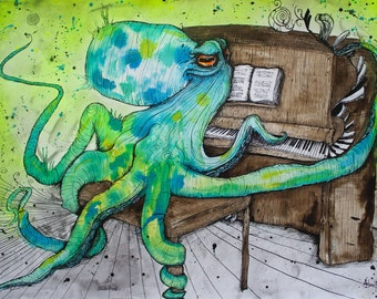 "Octopus Art - Piano Player - Surreal Animal Artwork - Art Print - Ocean Artwork - ""Octopianolicious"" by Far Out Arts"