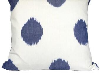 "Zoffany Wabi Sabi Ikat Polka Dot Indigo Designer Accent Pillow 18"""
