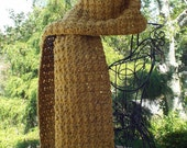 Mustard Yellow Crochet Scarf, Womens Neckwarmer, Tweed Oversized Scarf, Long Winter Scarf, Fall Scarf, Chunky Scarf, Gift For Her
