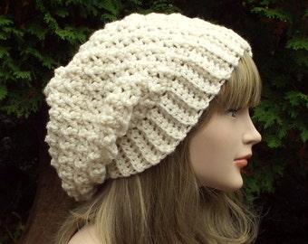 Cream Crochet Hat, Womens Slouchy Beanie, Oversized Slouch Beanie, Chunky Hat, Slouchy Hat, Winter Hat, Slouch Hat