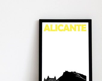 Alicante Print // Spain Art Travel Poster // // Alicante Poster // Alicante Art / Spanish Print / Spanish Poster / Spanish Art / Travel Gift