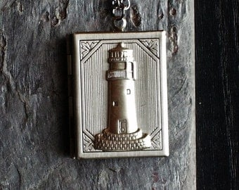 Lighthouse book locket pendant necklace antique silver