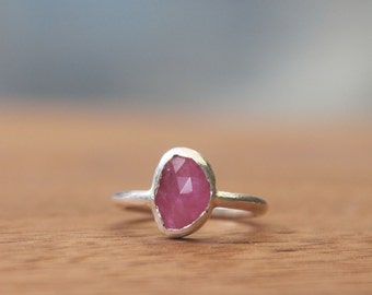 Rose Cut Pink Sapphire Stacking Ring, Sterling Silver
