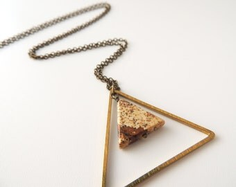 Jasper and Brass Triangle Necklace -- Geometric Gold and Gemstone Pendant -- Brass Chain -- UK Shop