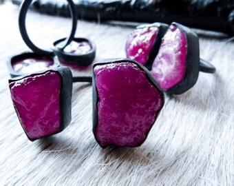 SEMI-ANNUAL SALE Big raw ruby ring   Multistone ring   Rough ruby ring   Birthstone ring   Adjustable ring   Ruby in silver ring   Boho ring