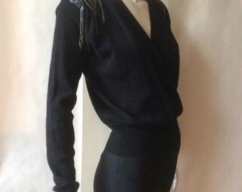 1980's lambswool and angora wrap sweater with beaded and fringed epaulets, black, a perfect party / evening piece, medium