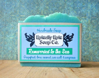 Remarried to the Sea Cold Process Soap - Vegan Handmade Soap - Sea Salt, Lime, Coconut, Grapefruit, Seagrass