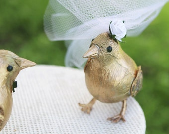 Bird Wedding Cake Topper in Gilded Gold: Bride & Groom Bird 50th Anniversary Cake Topper