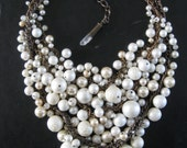 Upcycled Pearl Bib Necklace - White Ivory Cream and Brass -  Mermaid Farts - LIGHT Version