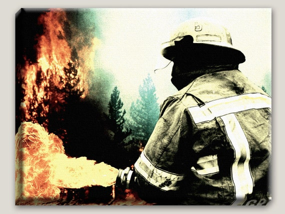 My love will not fade...- Canvas Art, Firefighter, Surreal, Fire, Forest, Hose, Fireman, Office Decor, Home, Station, READY TO HANG