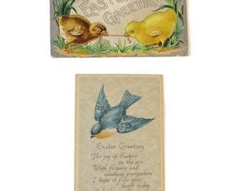 Antique Easter Greeting postcards - Chicks - Bluebirds - 1910