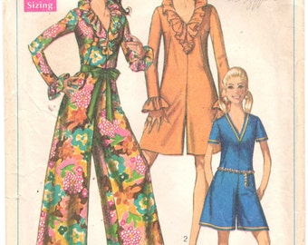 1960s Simplicity 7956 Misses V Neck Pantdress Ruffled Jumpsuit Pattern Two Lengths Womens Vintage Sewing Pattern Size 14 Bust 36