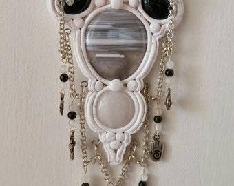 Snow Polymer Clay Altar Shield Goddess Moonstone Celtic Obsidian