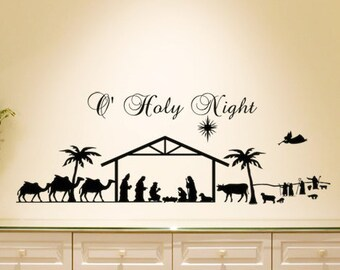 Christmas Decal Christmas Decoration O Holy Night Nativity Scene Set Vinyl Wall Sticker Holiday Decoration Holiday Decal Religious Christmas