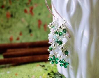 Cascade Swarovski Crystal Sterling Silver Earrings/ Flower