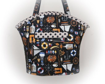 J Castle Designer Boutique Bag - Anchors Aweight Nautical Boat Designer Fabric - (Ready to Ship - FREE Shipping USA Canada)