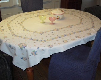 Vintage Tablecloth Octagon of Fruit Pink & Blue Cherries Peaches More