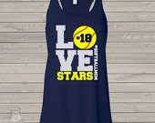 Softball mom love DARK flowy tank top - great gift for birthday or Mother's Day