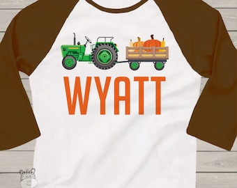 Fall green or red tractor personalized raglan shirt- adorable custom shirt for Fall FTKPT2