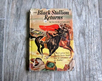 The Black Stallion Returns, 1945 Hardcover w/DJ by Walter Farley, Vintage Children's Book, Horse Book, 1940s Collectible, Horse Lover Gift!