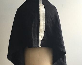 sale, Black Linen Pleated Scarf Fashion Accessories Silk Pleats , Fall Fashion