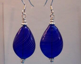 Blue Blown Glass Bubble Dangle Earrings