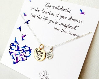 Graduation gift for her, follow your heart, compass necklace, go confidently in the direction of your dreams, graduation card, otis b