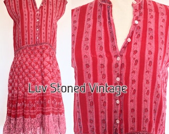 70s Vintage India Tent Cotton Boho Hippie Indian Ethnic Festival Midi Dress . D133 . XS-SM . 1218.8.6.16