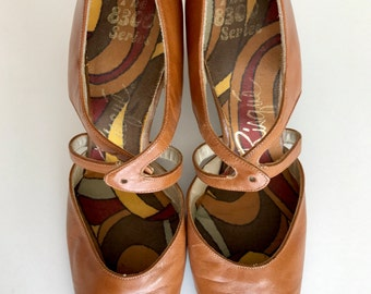 70s Risque 8300 Series Leather Slipon Boho Chunky High Heels Sandals Shoes . GT . Size  6  .  1235.10.14.16