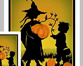 Boy's Halloween Card,   Witches and Pumpkins