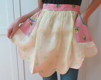 1950s Organza & Cotton Half Apron, Red and White Candy Stripe Floral Fabric with Yellow Roses