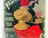 French Poster - Pastilles Poncelet 1896 Cold Medicine Advertisement Woman in the Rain 1968 Reproduction Print 8-1/2 x 12