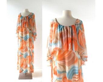 70s Floral Dress / Stargazer / Maxi Dress / 1970s Dress / Small S