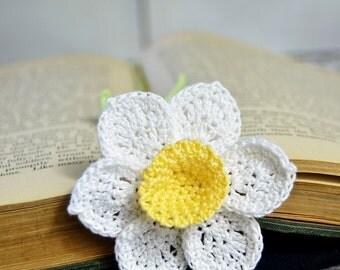 Handmade Bookmark Crochet Daffodil Flower Yellow Center