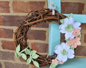 Handcrafted Miniature Wreath Dogwood Flower Wreath Shabby Chic Rustic Wreath Handmade Crochet Grapevine Wreath