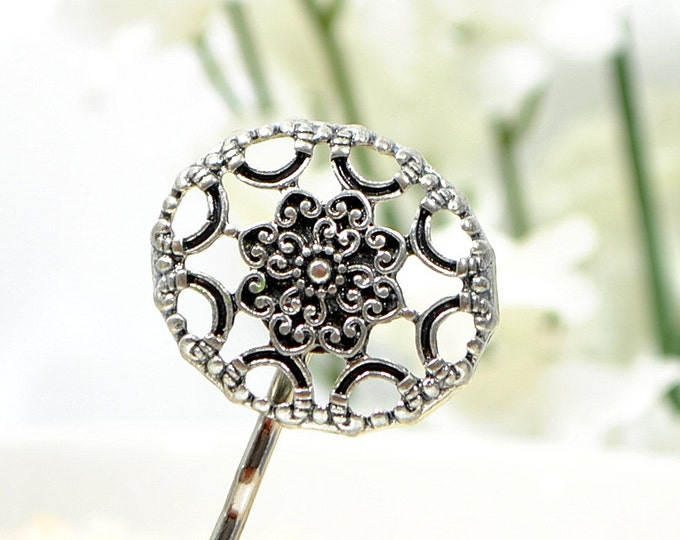 Silver Bobby Pin Celtic Hair Clip Silver Hair Beads Hair Accessory