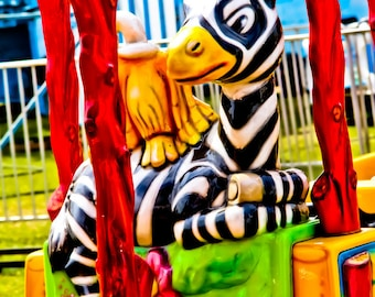 Zebra Train Kid Ride Fine Art Print- Carnival Art, County Fair, Nursery Decor, Home Decor, Children, Baby, Kids