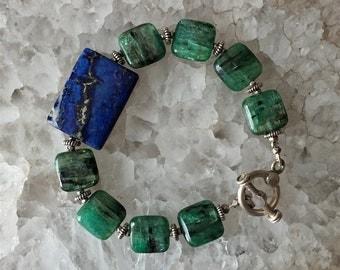 Lapis Lazuli and Green Kyanite Silver Bracelet