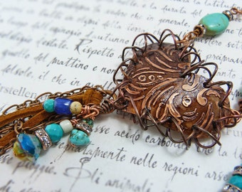 Etched heart leather tassel necklace - rustic copper cowgirl turquoise heart